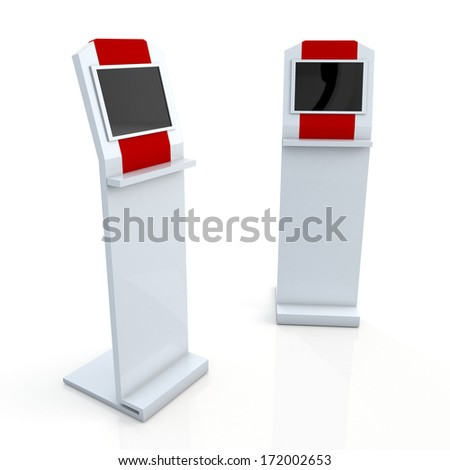 3d clean white and red stand display with monitor touch screen for data information in isolated background with clipping paths, work paths included  - stock photo