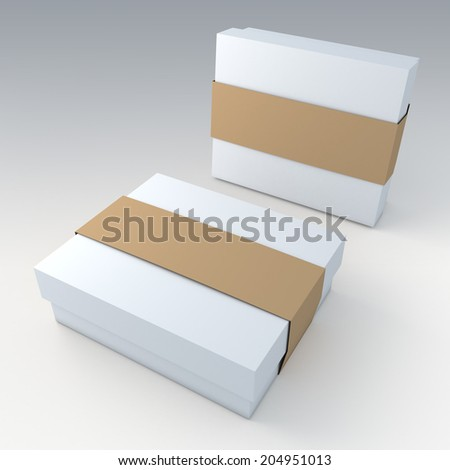 3D clean white garment or leather products packaging and brown jacket label ring in isolated with work paths, clipping paths included - stock photo