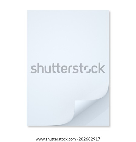 3D clean white papers A4, A3 pages corner curls in isolated background with work paths, clipping paths included - stock photo