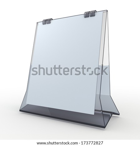 3d clean white papers and transparent acrylic base carton desk display attach papers peel as calendar in isolated background with work paths, clipping paths included  - stock photo