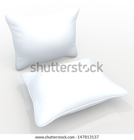 3d clean white pillows, cushions blank template in isolated with clipping paths, work paths included  - stock photo