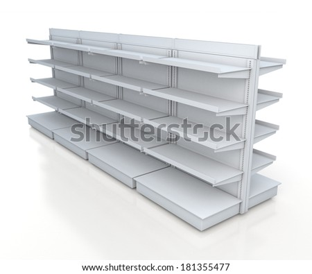 3d clean white racks shelves 2 side for products showing in isolated background with work paths, clipping paths included  - stock photo