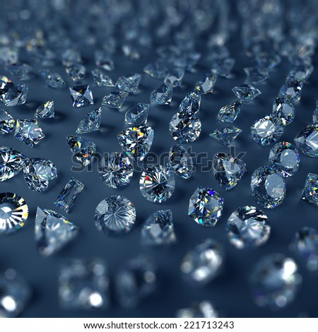 3d clear sparkling brilliants and diamonds background - stock photo