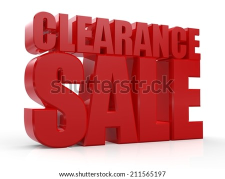 3D Clearance Sale text on white background - stock photo