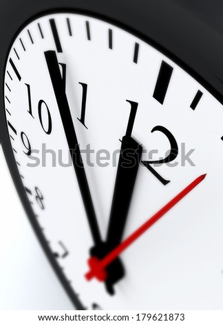 3D Clock face showing the hands at five minutes to midnight  - stock photo