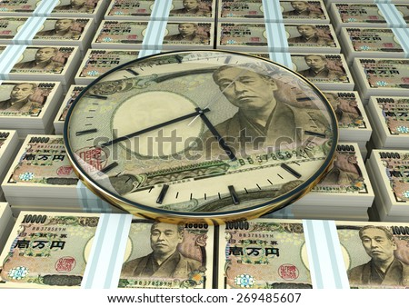 3D clock on piles and stack of Japan money - stock photo