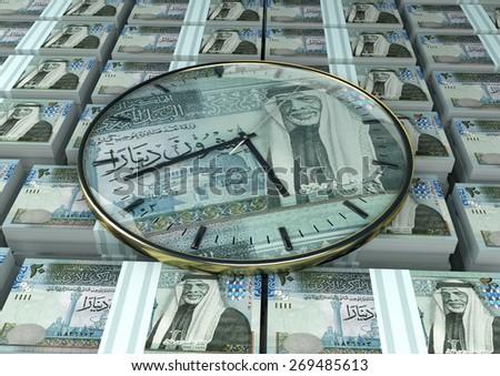3D clock on piles and stack of Jordan money - stock photo