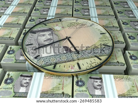 3D clock on piles and stack of Kingdom of Bahrain money - stock photo