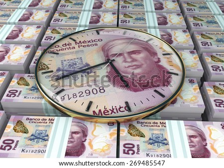 3D clock on piles and stack of Mexico money - stock photo