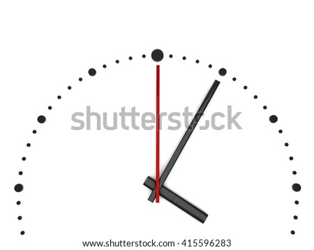 3D clock on white  3D rendering - stock photo