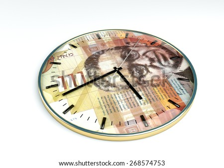 3d clock with Israel currency printer inside it isolated on white background - stock photo