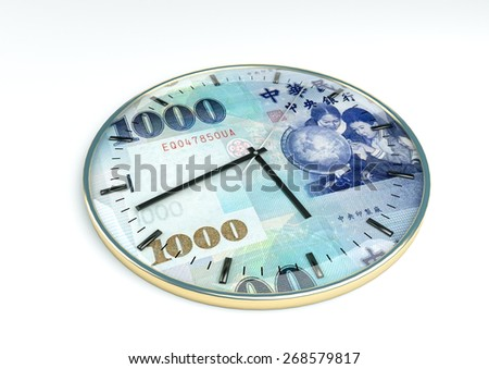 3d clock with Taiwan currency printer inside it isolated on white background - stock photo