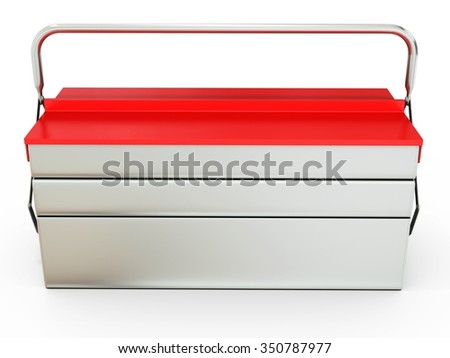 3d closed metallic toolbox on white background - stock photo