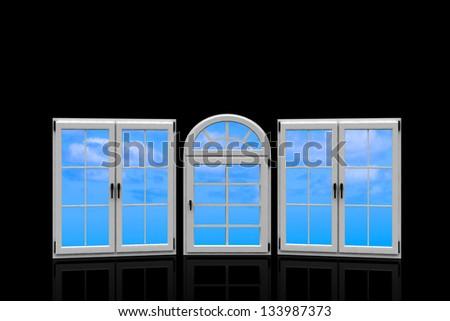 3d closed plastic windows on black background - stock photo
