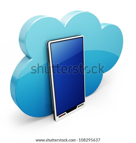 3d Cloud-computing on the mobile smart phone on white background - stock photo