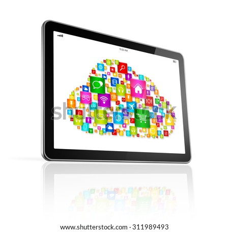3D Cloud computing symbol on Digital Tablet pc - isolated on white with clipping path - stock photo