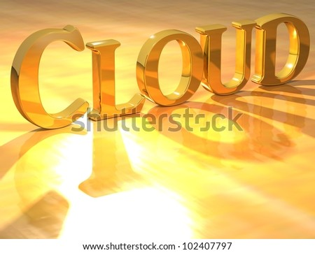 3D Cloud Gold text over yellow background - stock photo