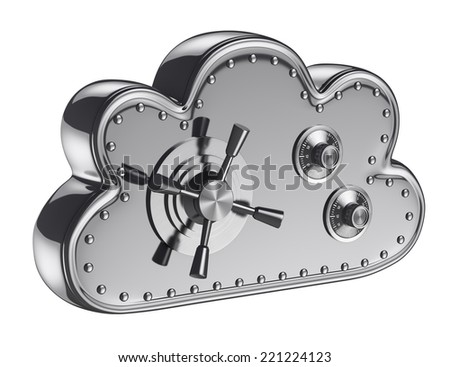 3d cloud security concept. Safe box. Isolated white background. - stock photo