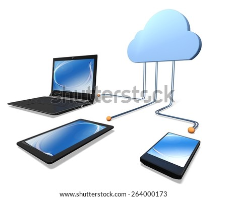 3D. Cloud, Technology, Internet. - stock photo