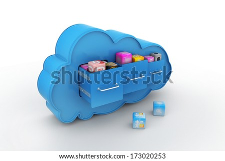 3d cloud with cabinets, cloud computing concept - stock photo