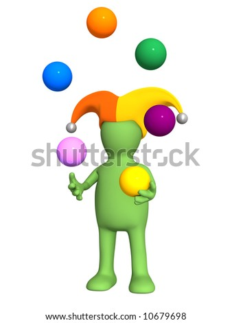 3d clown - puppet, juggling with color balls. Objects over white - stock photo