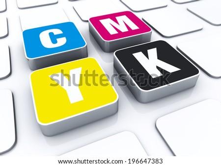 3D cmyk color letters symbol  - stock photo
