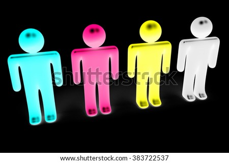 3D CMYK concept (cyan, magenta, yellow, black colors) - great as a motive for off-set printing, advertising agency, graphic studio etc. - stock photo