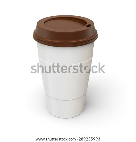 3d Coffee Cup with brown lid on white background - stock photo