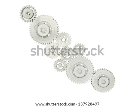 3D cogwheels isolated over a white background - stock photo