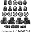 3d collection of car wheels on white background. High resolution of more than 115 mpix - stock photo