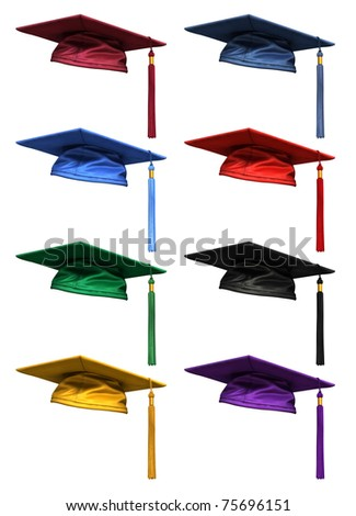 3D collection of colorful high quality graduation caps  isolated on white background - stock photo