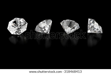 3d collection of four various diamonds isolated on black background - stock photo