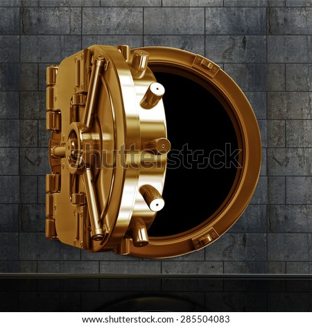 3D collection of gold objects. bank vault door. High resolution  - stock photo