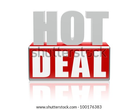 3d color letters and block with text - hot deal - stock photo