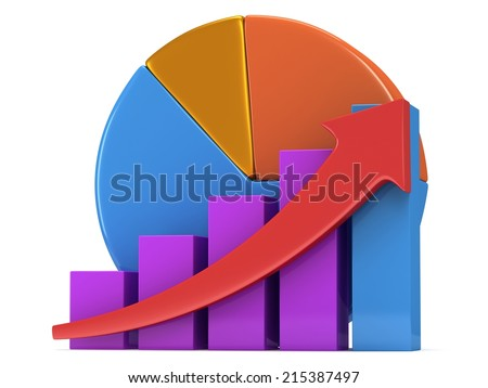 3d colored bar graph with red arrow growing up and pie chart on white. Grow, chart, business statistic concept - stock photo
