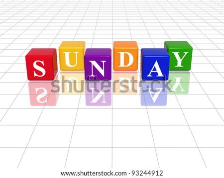 3d colored cubes with letters makes sunday - stock photo