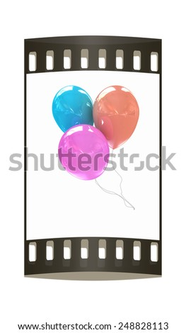 3d colorful balloons on a white background. The film strip - stock photo