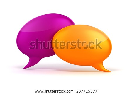 3d colorful bubble talk on white background - stock photo