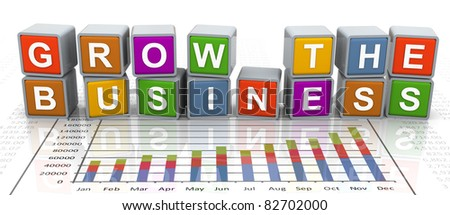 3d colorful buzzword series - text 'grow the business' - stock photo