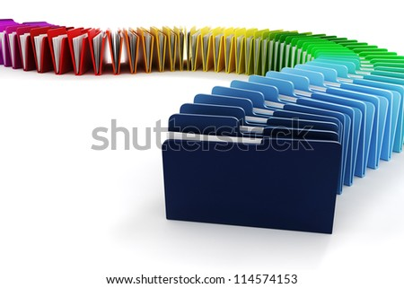 3d colorful folders on white background - stock photo