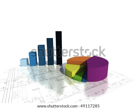 3d colorful graphs - stock photo