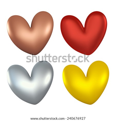 3D Colorful heart color of set, object isolated - stock photo