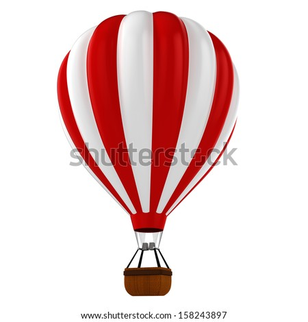 3d colorful hot air balloon - stock photo