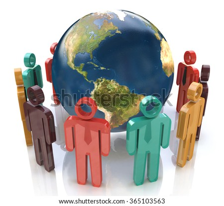 3d colorful people around the globe. Concept of global communication in the design of information related to communication and business - stock photo