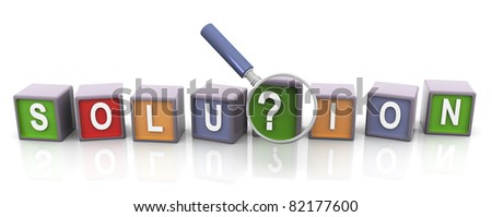 3d colorful text box solution with magnifier glass. Concept of searching solution - stock photo