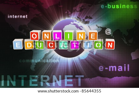 3d colorful textbox of 'online education' on background of abstract internet wallpaper - stock photo