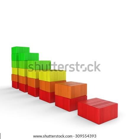 3d colorful wood brick chart 2 - stock photo