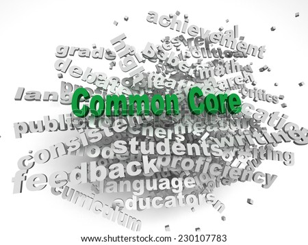3d  Common Core  issues concept word cloud background - stock photo