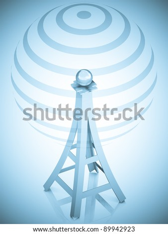 3d communication antenna tower - stock photo