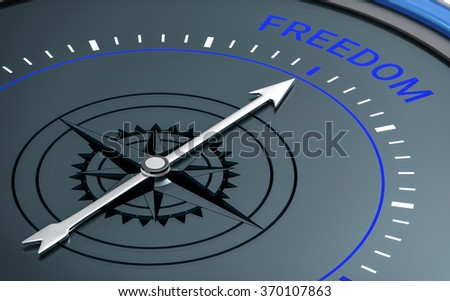 3D Compass. Freedom Word. Orientation, Aim or Target Concept. - stock photo
